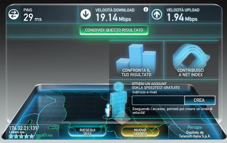 speedtest LTE Linkem Ostiglia 31052016